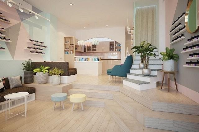 Tiệm Nail được thiết kế theo phong cách xinh xắn, đáng yêu