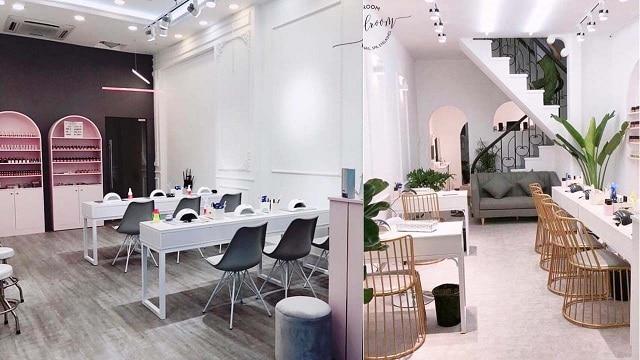 Phong cách thiết kế của tiệm Nail đơn giản, mộc mạc nhưng vẫn rất tinh tế