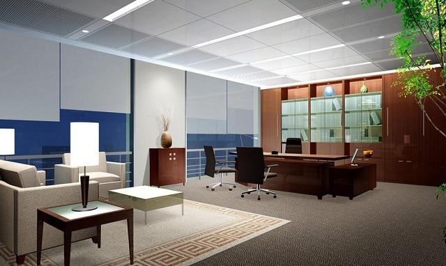 Mẫu thiết kế văn phòng với nội thất bằng gỗ tạo kiểu tinh xảo, bắt mắt