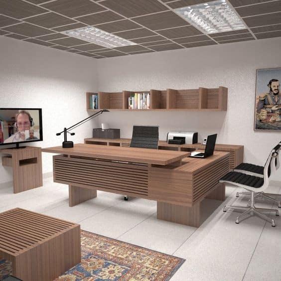Không gian văn phòng được thiết kế với gam màu trung tính cùng sự sắp xếp hoàn hảo của các món đồ nội thất