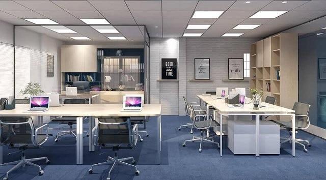 Không gian làm việc sử dụng 2 màu sắc cơ bản nhất là đen và trắng với những món đồ phụ kiện nội thất hiện đại