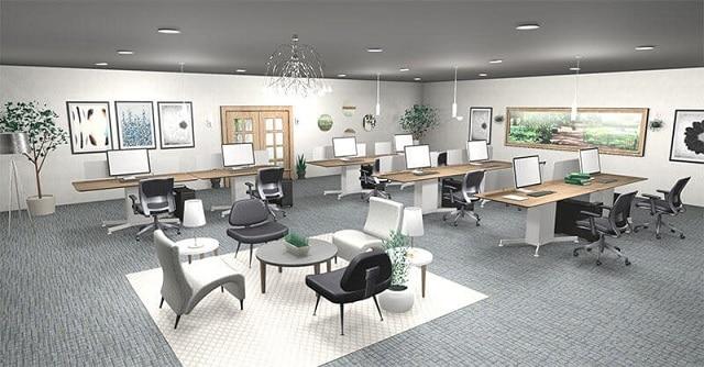 Mẫu nội thất văn phòng thiết kế hiện đại, đơn giản với bộ bàn làm việc và bộ sofa tiếp khách