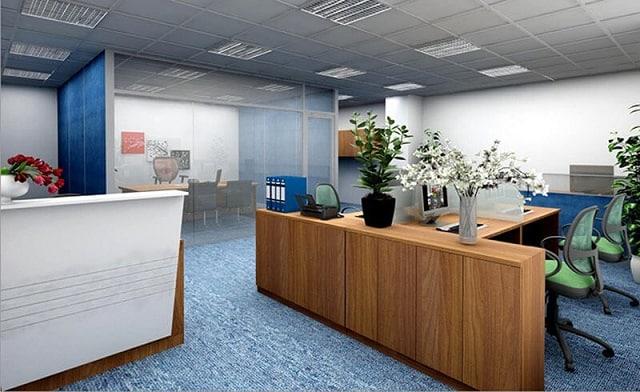 Phòng làm việc sử dụng những thiết kế nội thất thông minh để tận dụng tối đa diện tích không gian