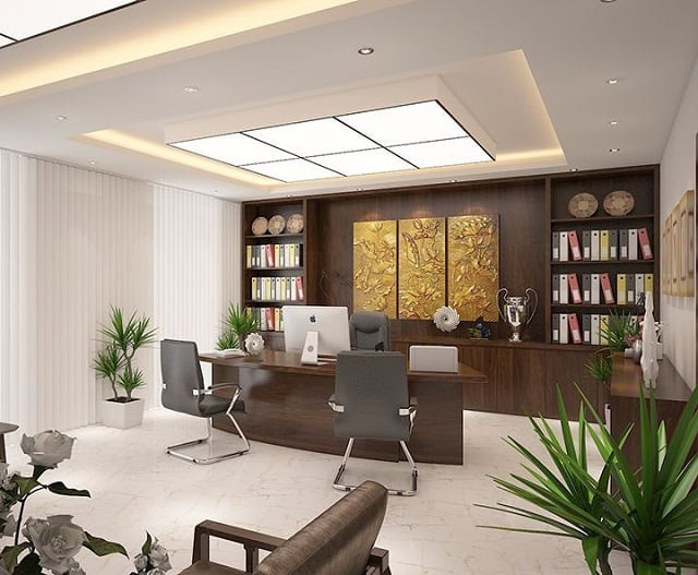 Phòng làm việc được bày trí tinh tế với những món nội thất sắp xếp cách hợp lý