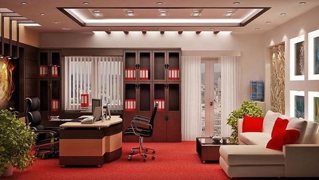 Văn phòng làm việc sử dụng những món nội thất sang trọng thể hiện sự bề thế của công ty