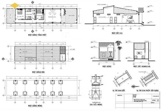 Mẫu bản vẽ thiết kế xây dựng công trình hợp lệ.