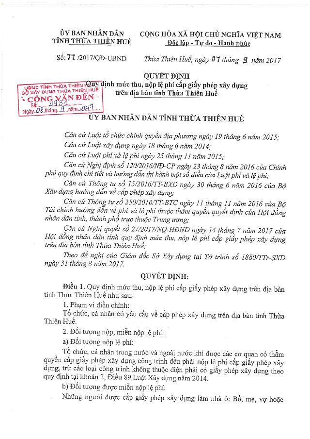 Một số quy định về nộp lệ phí xây dựng