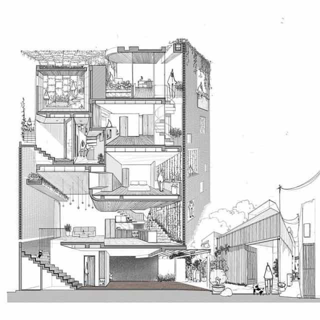 Thiết Kế Ngôi Nhà Gạch Có Bức Tường Gạch Đóng Mở 4