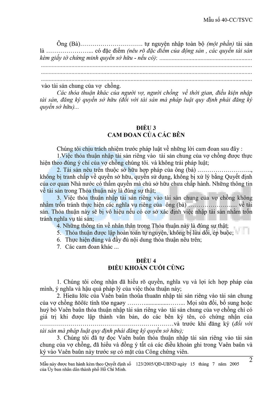 Văn Bản Thỏa Thuận Nhập Tài Sản Riêng Vào Tài Sản Chung Vợ Chồng tờ 2