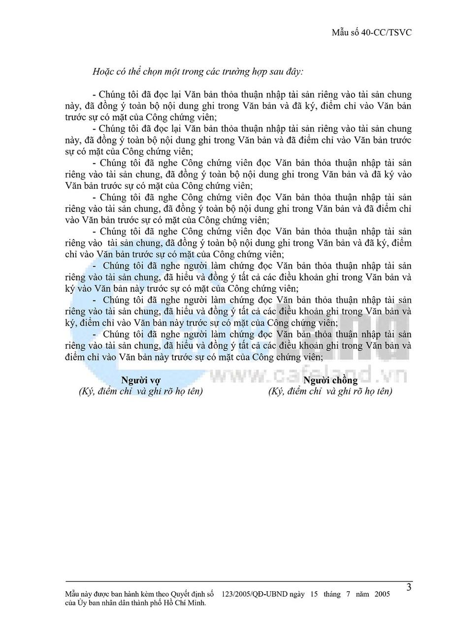 Văn Bản Thỏa Thuận Nhập Tài Sản Riêng Vào Tài Sản Chung Vợ Chồng tờ 3