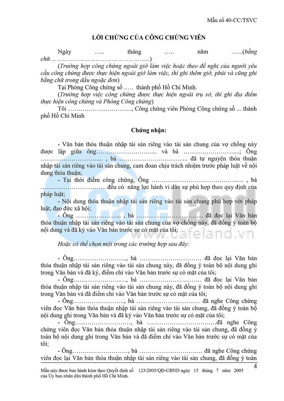 Văn Bản Thỏa Thuận Nhập Tài Sản Riêng Vào Tài Sản Chung Vợ Chồng tờ 4