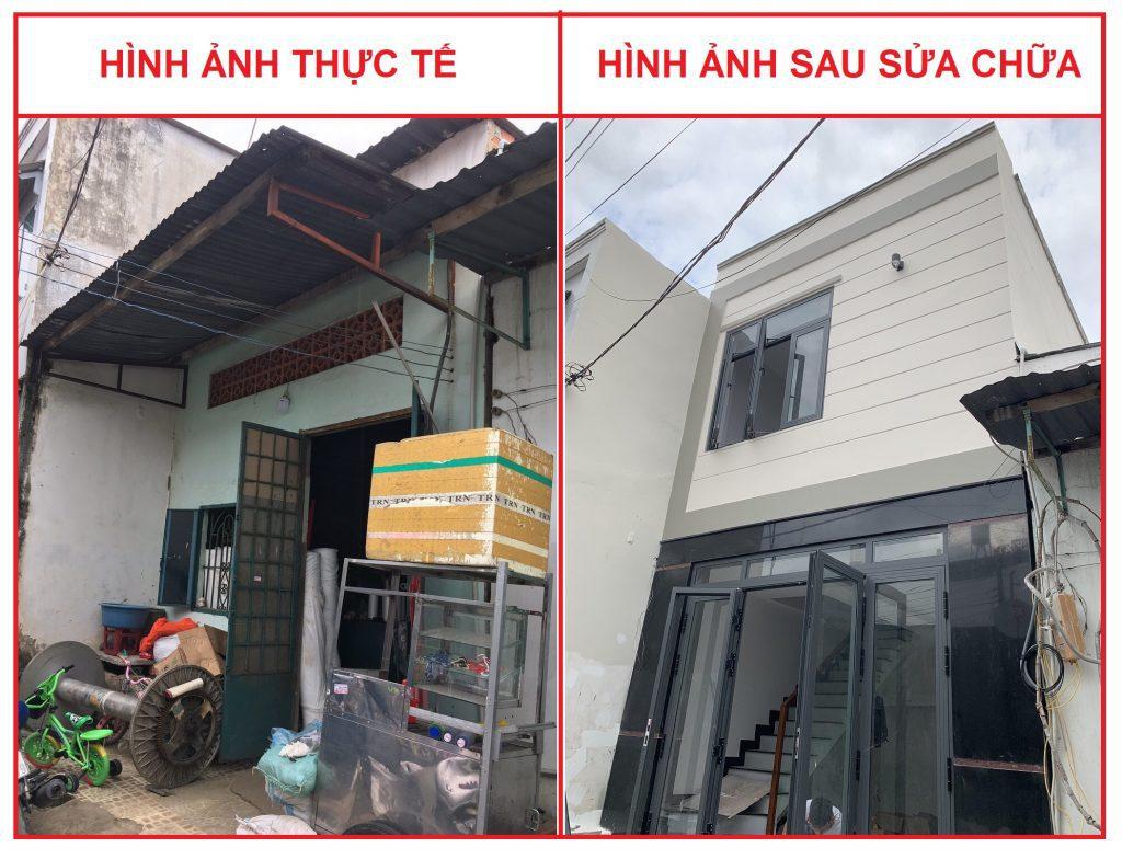 Anh trước và sau khi Thanh Thịnh thi công sửa chữa nhà nâng tầng tại quận 12