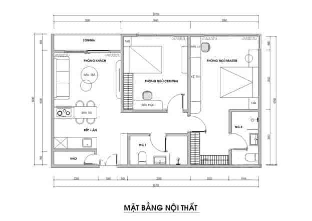 Mặt bằng thiết kế căn hộ 70m²