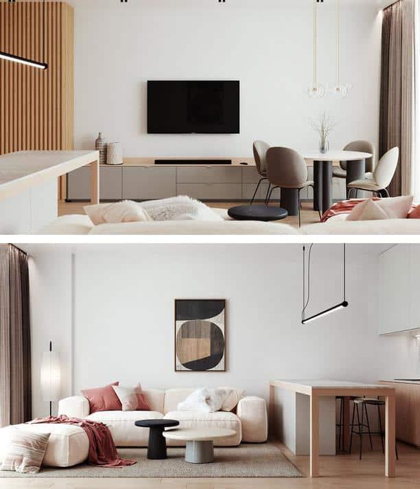 Phòng khách thiết kế với gam màu sáng, bố trí vật dụng hợp lý