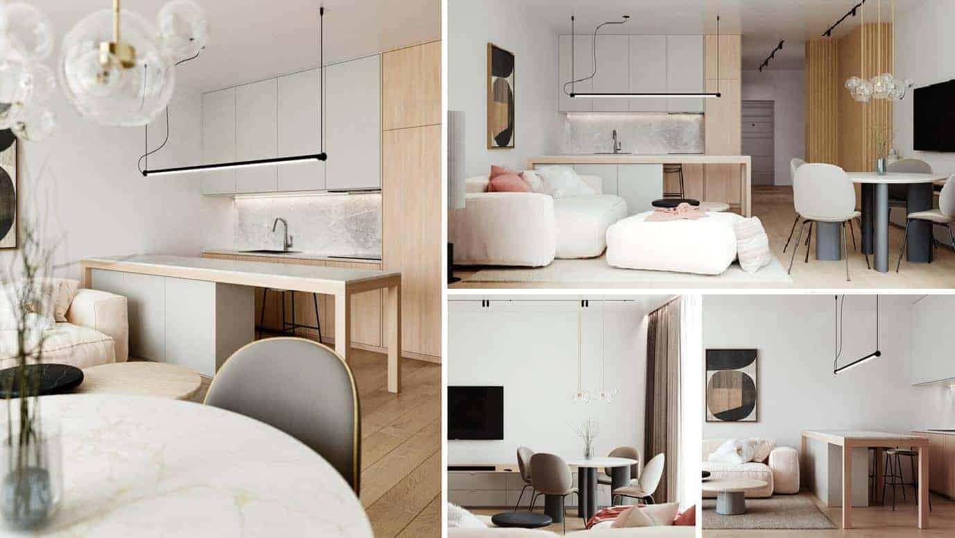 phòng bếp được thiết kế liền kế phòng khách nhằm tiết kiệm diện tích