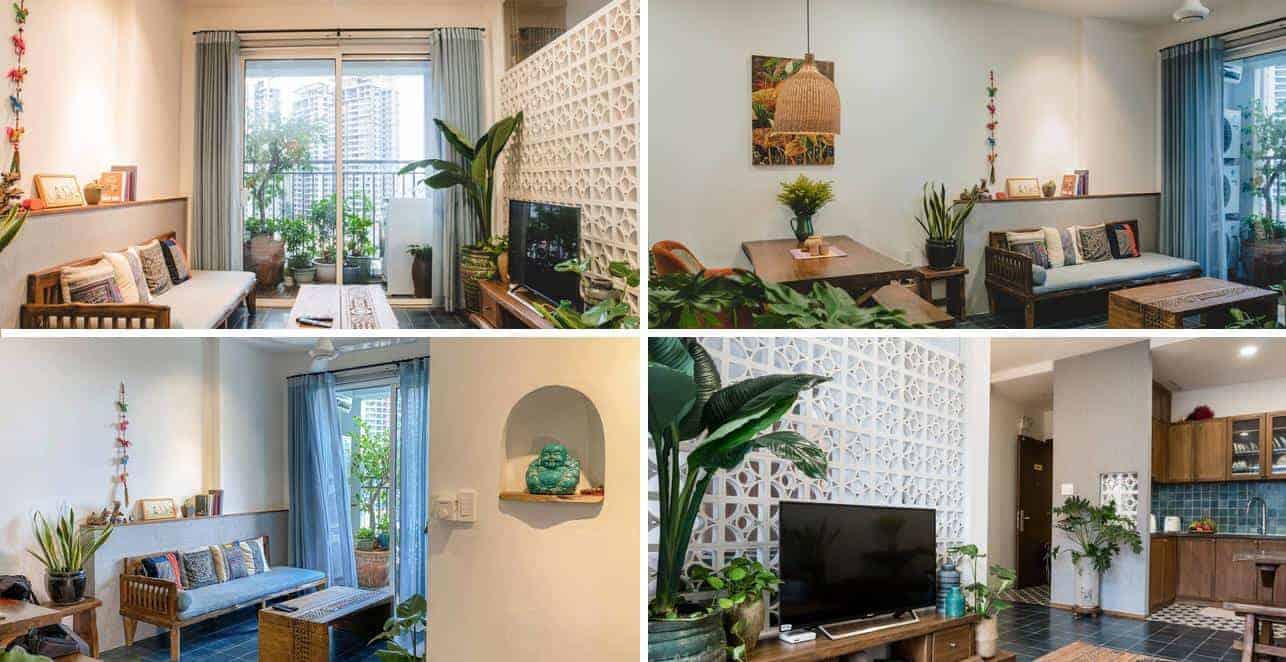 Phòng khách được thiết kế đơn giản với kệ tivi, bộ bàn ghế nhỏ và kệ ngang để sách gắn tường