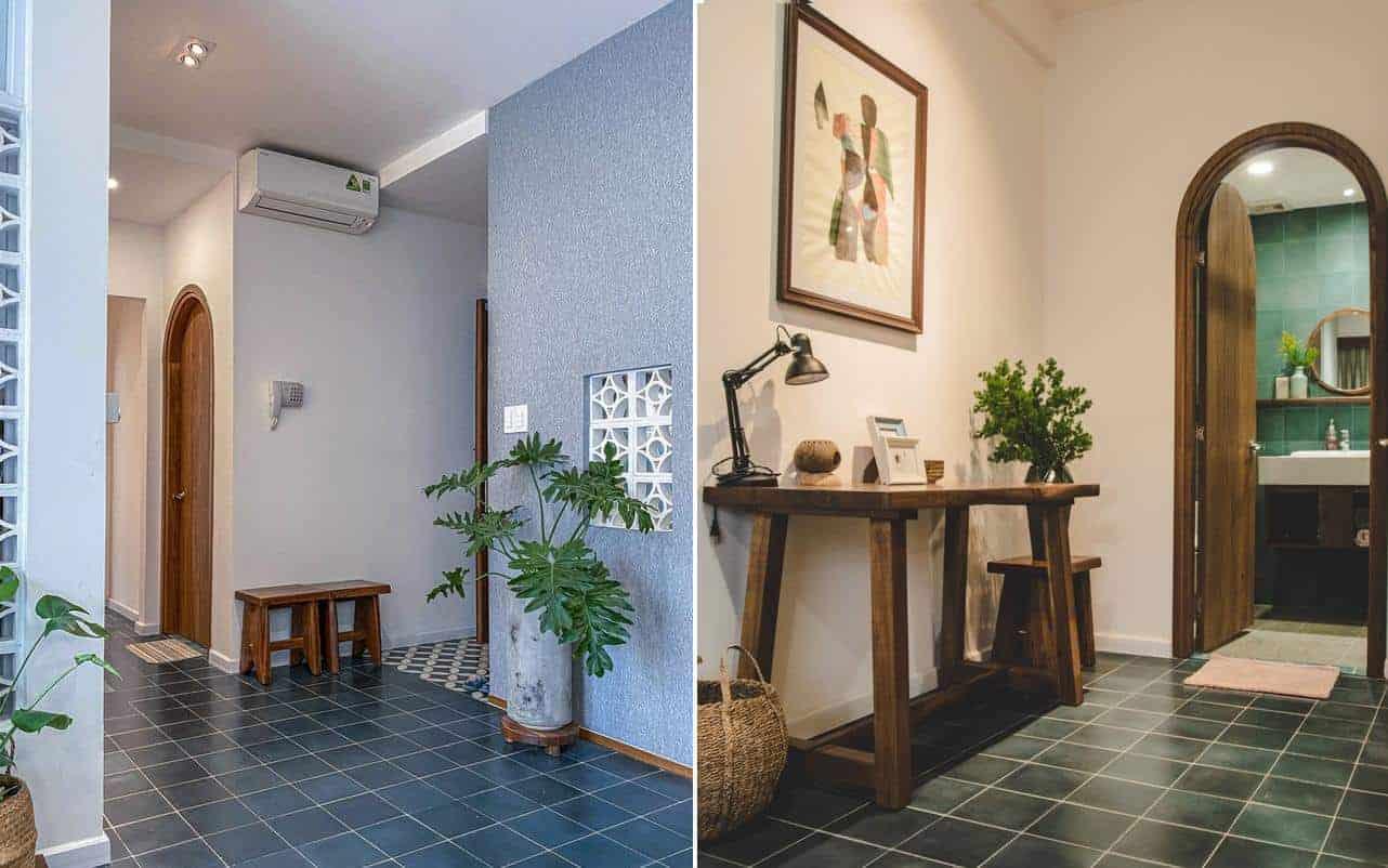 Ở mỗi gốc nhà đều có đặt cây xanh và gạch ốp nền khác nhau để phân biệt từng phòng