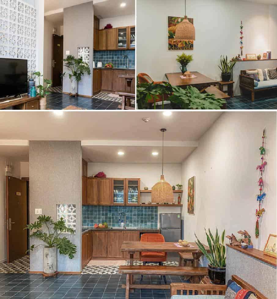 Không gian phòng bếp được bố trí khóe léo nhìn đơn giản nhưng rất khoa học