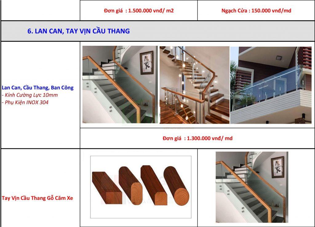 Bảng báo giá vật tư cầu thàng, tay vịn cầu thang thi công hoàn thiện nhà thô ở hcm