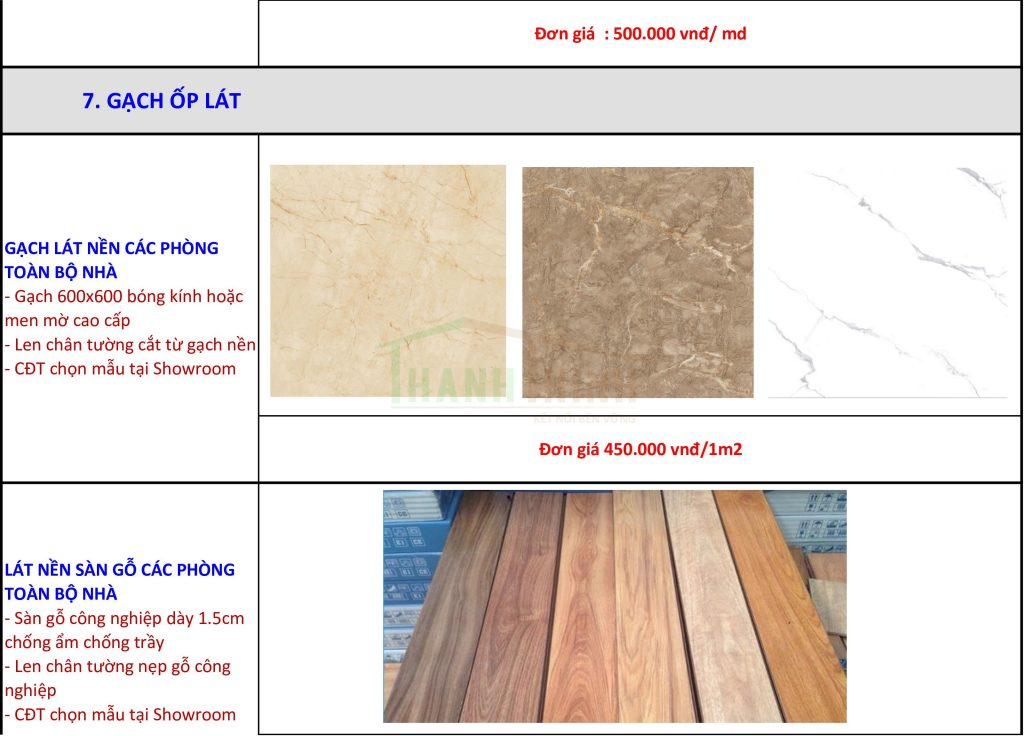 Bảng báo giá vật tư gạch ốp, gỗ ốp, lát nền thi công hoàn thiện nhà thô ở hcm