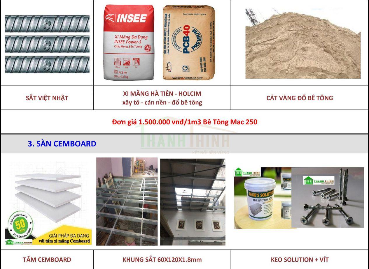 Bảng thống kê vật tư thép, cát bê tông, khung sắc, sơn, tấm cemboard sửa chữa, hoàn thiện nhà tại tphcm