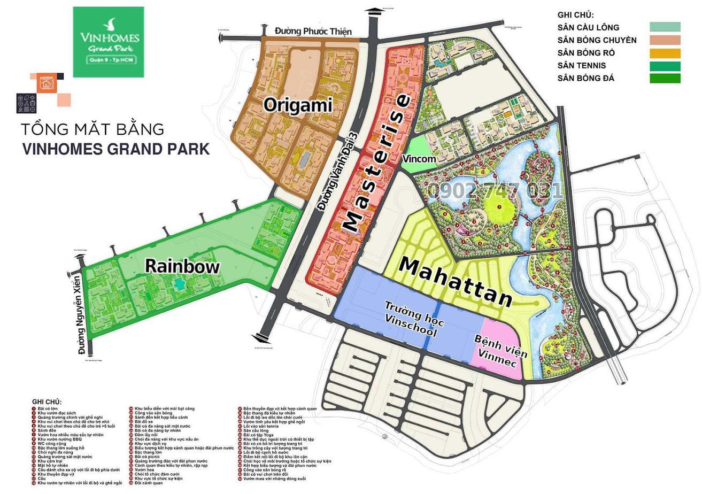 Tổng mặt bằng Vinhome Grand Park Quận 9