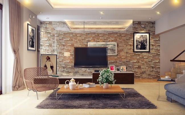 Trang trí tường phòng khách bằng đá ốp đẹp